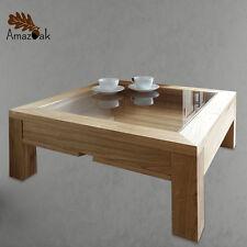 Display Coffee Table Glass Wood Solid Oak Modern Square UK Handmade Amazoak 60cm