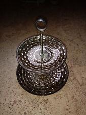 Etagere 2-fach Glas gold Gebäckschale Obstschale Etagenplatten Servierplatte