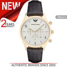 d34cf295c194 Emporio Armani Clásico Hombres Dial Blanco Reloj AR1892 │ │ Chrono correa de  cuero negro