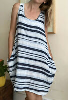 Lagenlook Striped 100% Cotton Dress Italian M Uk 12 Casual Pockets Oversized