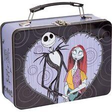 Nightmare Before Christmas Jack & Sally Large Tin Tote Lunch box Storage Retro