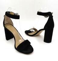 ANN TAYLOR Size 9 Black Suede Leannette Block Heel Open Toe Ankle Strap Sandal