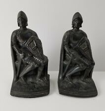 Vintage Antique Cast Metal Knight Armor Bookends Figure Figurines One As is Lot