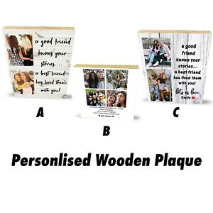 Personalised Wooden Best Friends Photo Block Plaque Custom Memory Photo Gifts