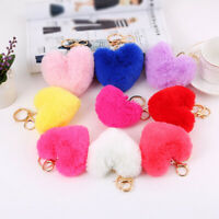Plush Fluffy Heart Shaped Bag Pendent Fashion Key Chain Women Accessory Gift
