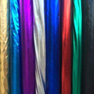 LYCRA SHINY FOIL 2 WAY Stretch Fabric Dress Dance Wear Backdrop Display 150cm