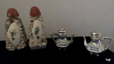 Two Sets Of Vintage Florida Salt And Pepper Shakers Shell Encrusted and tea pots