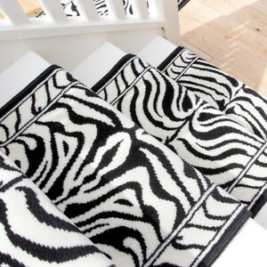 Retro Black Zebra Print Long Hall Stair Carpet Hallway Stair Runner Sold in Feet