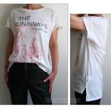 Junk Food The Runaways Side Slit Back Seam Loose Fit Tissue T-shirt Inside Print