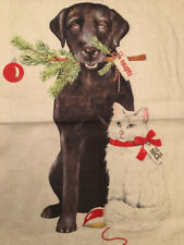 Dog & Cat Christmas Toss Throw Pillow Cover Holiday Home Decor