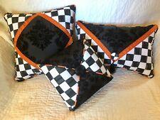 Black Damask Orange 3-Pillow Collection Group Set Mackenzie Childs Napkin SALE!