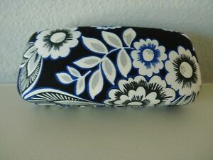 VERA BRADLEY Sunglass Eyeglass Hard Clam Shell Case - Black White Blue Floral