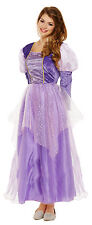 Ladies Purple Long Hair Princess Fairy Tale Fancy Dress Costume Outfit 8-10-12