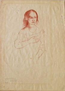 "Original GUERRERO GALVAN DRAWING - Woman with Dove - Signed - 18.5"" x 13.5"""