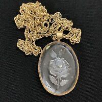 "Vtg Victorian Revival Glass Intaglio Rose Pendant Necklace Floral Gold Tone 24"""