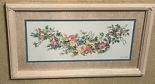 "Homco Home Interiors Picture Artist Karen Avery Roses Birds 21 x 11 3/4"" Pink"