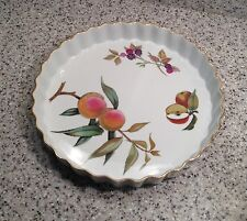 "ROYAL WORCESTER England EVESHAM GOLD 10"" QUICHE / TART Baker ~ Peach / Berries"