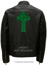 LARGE CELTIC CROSS BIKER PATCH IRISH EMBROIDERED Religious GREEN IRELAND iron-on