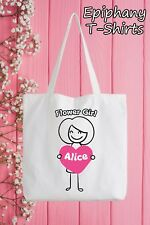 Flower Girl Personalised Tote Bag Funny Gift Hen Wedding Add Name Marriage
