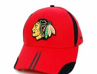 Chicago Blackhawks Reebok NHL Team Striped Bill Adjustable Red Hockey Cap Hat