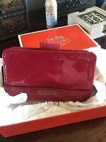 Coach Patent Pink Leather Medium Corner Zip Snap Wallet + Coach Box