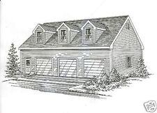 42x30 3 Car Garage Building Blueprint Plans with Walkup Open Loft Area
