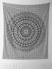 Plush Decor and Elephant Mandala Tapestry Double Bed Black &white 1