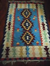 Vintage KILIM Rug Geometric Motifs, Blue, Cream, Burgundy Colors, 5.71' x 3.79'