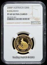 2000 AUSTRALIA $50 Kangaroo 1/2 oz. Pure Gold Coin NGC PROOF 69 ULTRA CAMEO