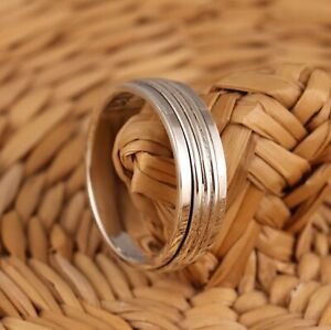 Solid 925 Sterling Silver Spinning Thumb Worry Band Ring 7mm Mens Womens