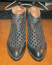 JEFFREY CAMPBELL Taggart Black Cut Out Ankle Bootie Anthropologie Size 6.5 EUC!