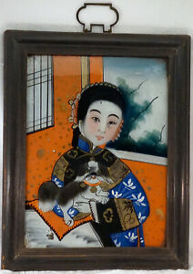 Antique Chinese Reverse Painting on Glass Geisha Girl with Happy Pekinese Dog