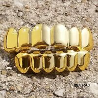 14K Gold Plated Custom Mouth Cap Tooth Grillz Rapper HipHop Top Bottom Grill Set