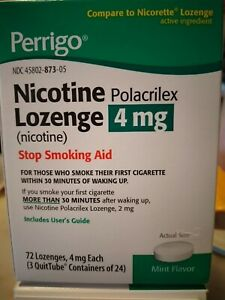 Nicotine Lozenges 4mg. Mint 72 ct. PERRIGO BRAND exp. 10/2022 stop smoking aid