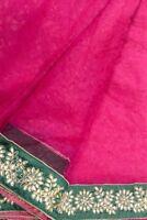 Vintage Indian Heavy Saree Hand Embroidered Work  Sari Pure Net Silk Fabric