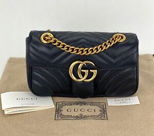 Gucci GG Marmont Black Leather Matelassé Mini Bag B415 446744 Authentic New