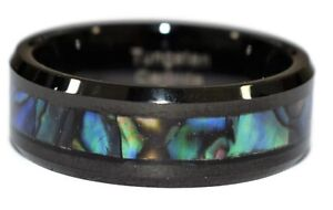 Black Men's Tungsten Carbide Band Tungsten Gift Wedding Ring Abalone Shell Inlay