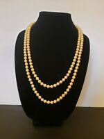 """Sterling Silver Hand Knotted Glass Pearl Necklace Slider Filigree Clasp 52"""""""