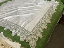 More details for vintage machined embroidered cotton tablecloth crochet lace border cherries