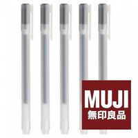 MUJI MoMA Gel Ink Ballpoint Pen 0.38mm BLACK x 5 Made in JAPAN FREE SHIPPING