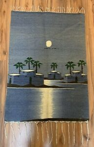 """Beautiful 43""""X30"""" Wool Wall Tapestry Hanging Rug With Fringe Hand Made In Egypt"""