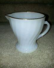 Anchor Hocking Fire King White Milk Glass 22kt Gold Trim Creamer
