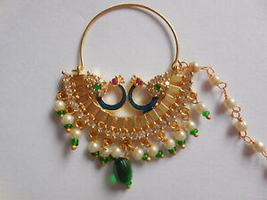 Indian Nose Nath Decorated Nose Ring With Chain Wedding Hanging Bead Piercing