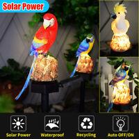 Solar Power Waterproof Parrot Shape Lawn Garden LED Lamp Light Landscape Decor