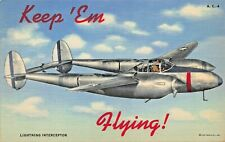 KEEP EM FLYING~LIGHTNING INTERCEPTOR-1940s WW2 MILITARY POSTCARD