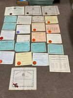Antique School Diploma Marriage license military service Certificate collection