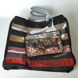 Victoria's Secret Carryall Tote Bag With Bling Sequins Striped With Pouch / NWT