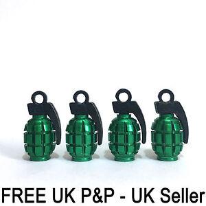 Green Grenade Gernade Shape Air Valve Dust Caps Car Wheels Tyres Bikes 4 x pcs