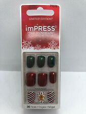 NEW Kiss Nails Impress Press On Manicure Short Gel Red Gingerbread Christmas