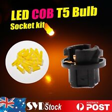 10 x  T5 COB LED Bulbs Amber + Sockets Base Dashboard Cluster Gauge Dash Lights